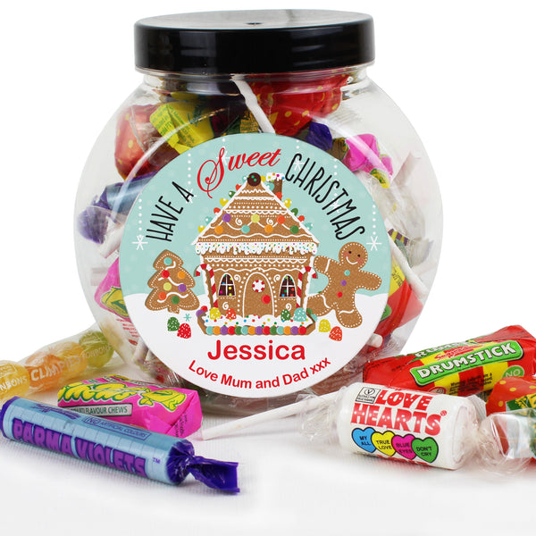 Personalised Gingerbread House Sweet Jar white background