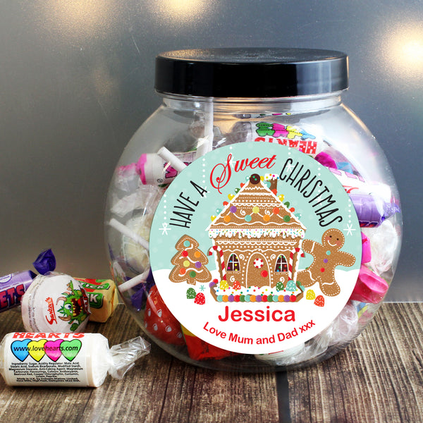Personalised Gingerbread House Sweet Jar from Sassy Bloom Gifts - alternative view