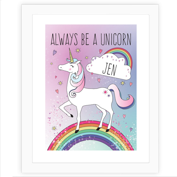 Personalised Unicorn White Framed Poster Print white background