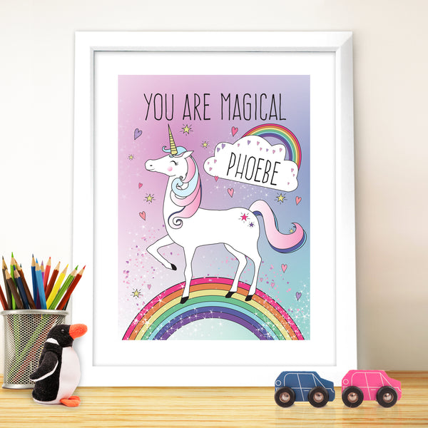 Personalised Unicorn White Framed Poster Print from Sassy Bloom Gifts - alternative view
