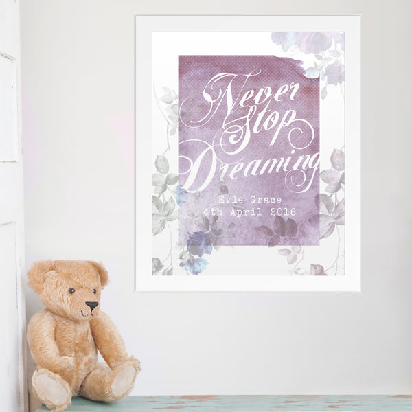 Personalised 'Never Stop Dreaming' White Framed Poster Print lifestyle image