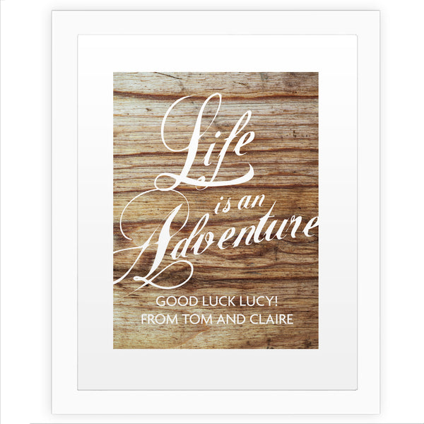 Personalised 'Life is an Adventure' White Framed Poster Print white background