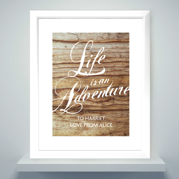 Personalised 'Life is an Adventure' White Framed Poster Print from Sassy Bloom Gifts - alternative view