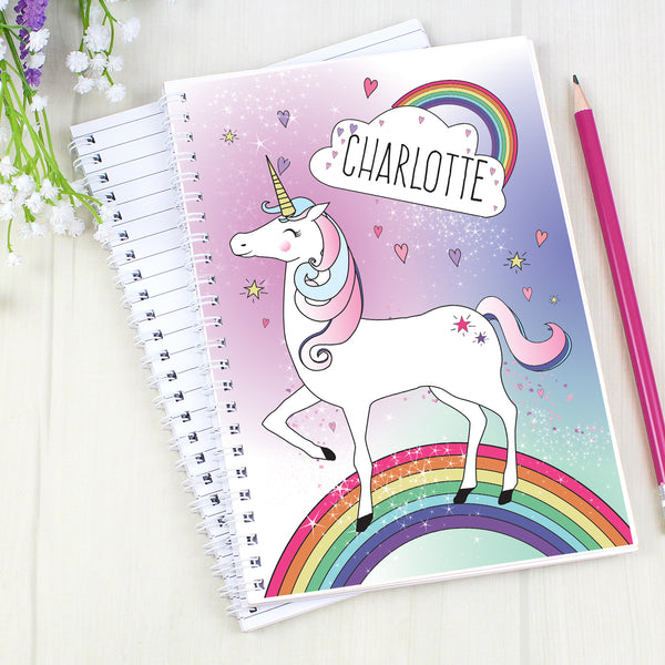 Personalised Unicorn A5 Notebook lifestyle image