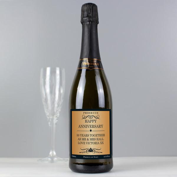 Personalised Any Message Bottle of Prosecco with personalised name
