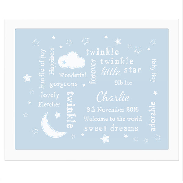 Personalised Blue Twinkle Twinkle Typography White Framed Poster Print white background