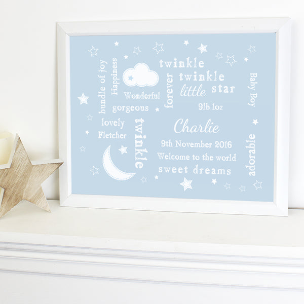 Personalised Blue Twinkle Twinkle Typography White Framed Poster Print from Sassy Bloom Gifts - alternative view