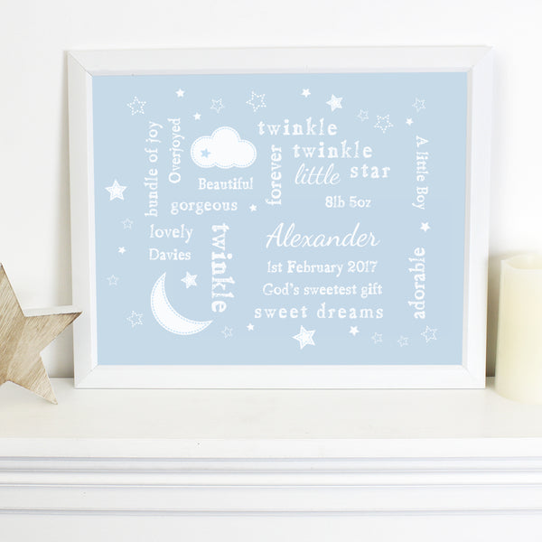 Personalised Blue Twinkle Twinkle Typography White Framed Poster Print with personalised name
