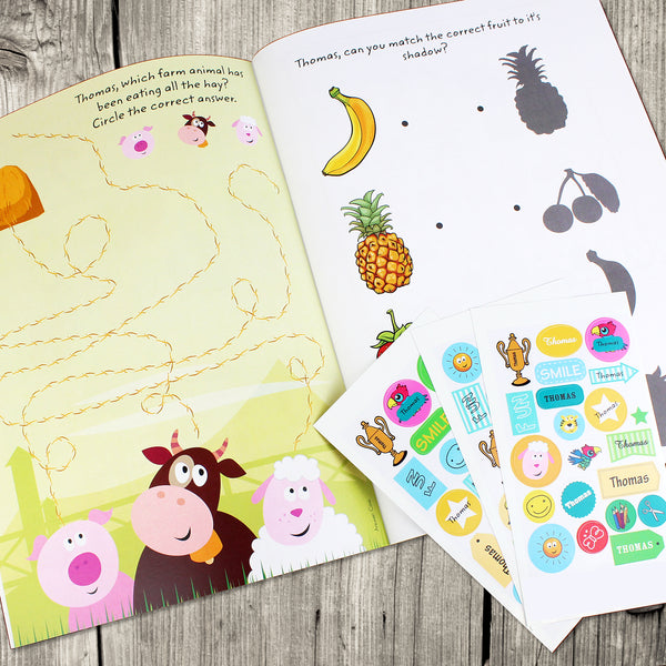 Personalised Activity Book with Stickers with personalised name