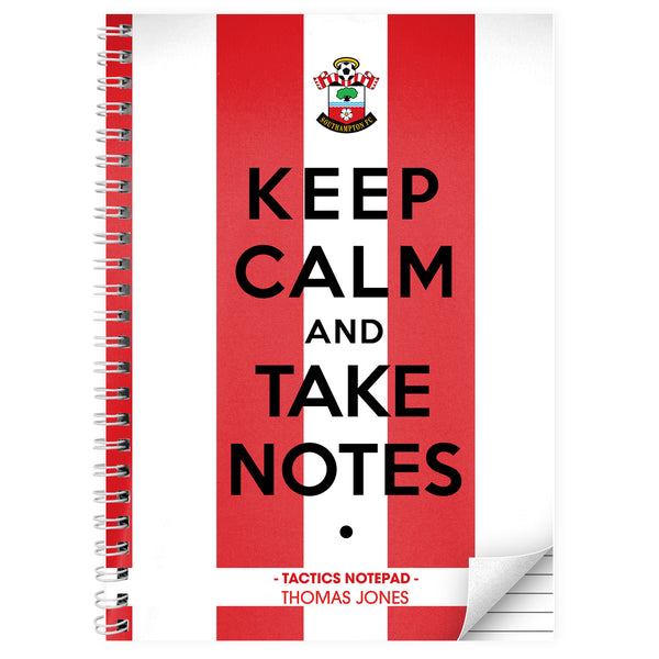 Personalised Southampton Keep Calm A4 Notebook white background