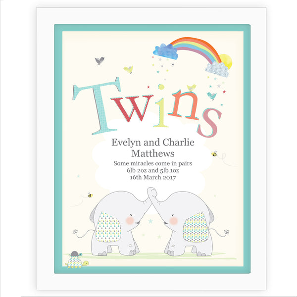 Personalised Hessian Elephant Twins White Framed Poster Print white background