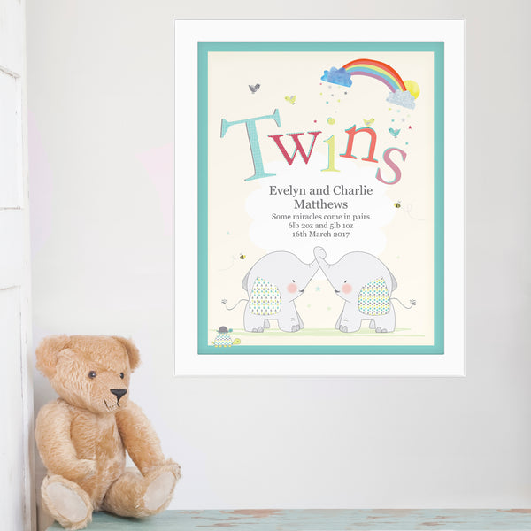 Personalised Hessian Elephant Twins White Framed Poster Print from Sassy Bloom Gifts - alternative view