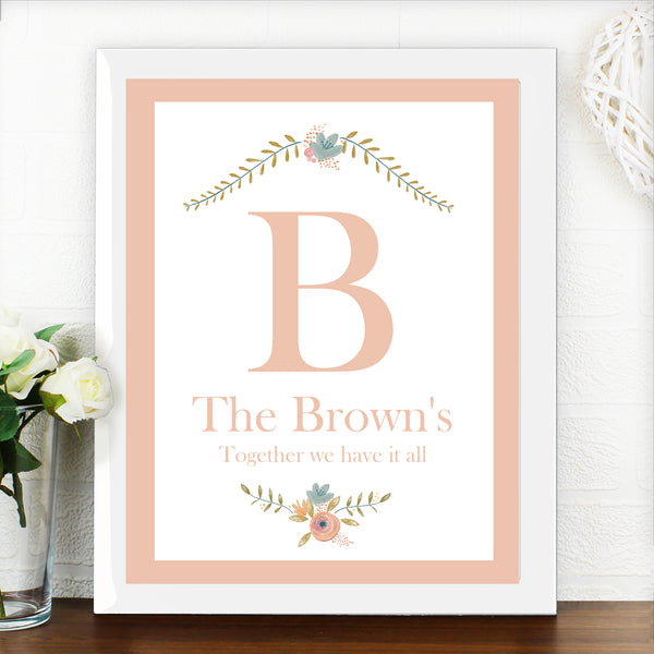 Personalised Floral Bouquet White Framed Poster Print lifestyle image