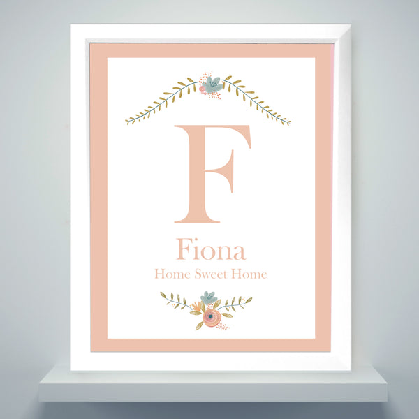 Personalised Floral Bouquet White Framed Poster Print