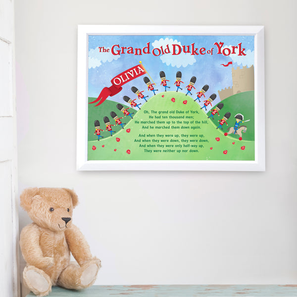 Personalised Grand Old Duke of York White Framed Poster Print lifestyle image