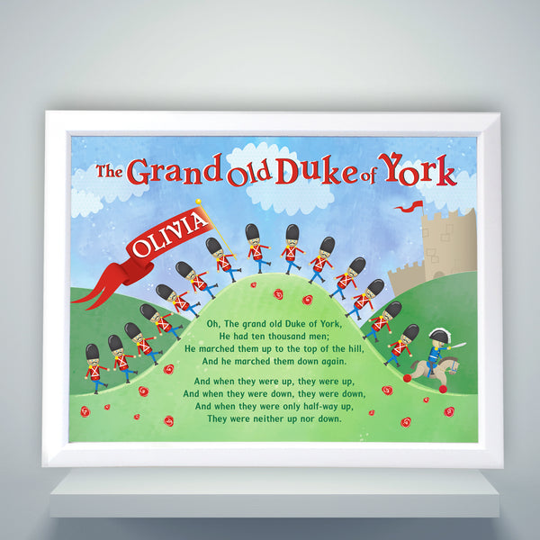 Personalised Grand Old Duke of York White Framed Poster Print with personalised name