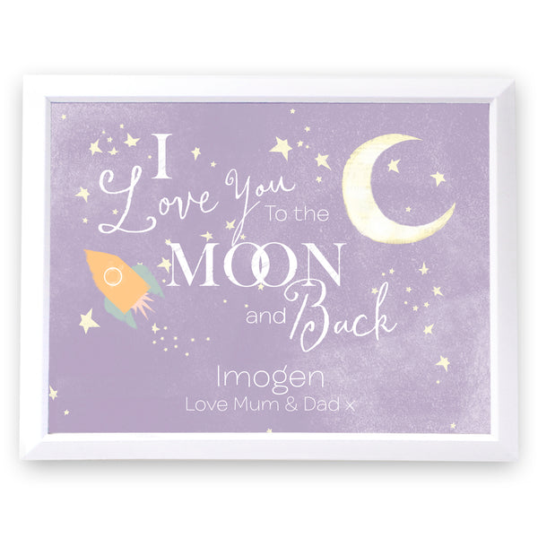 Personalised To the Moon and Back White Framed Poster Print white background