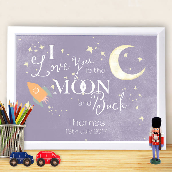 Personalised To the Moon and Back White Framed Poster Print from Sassy Bloom Gifts - alternative view