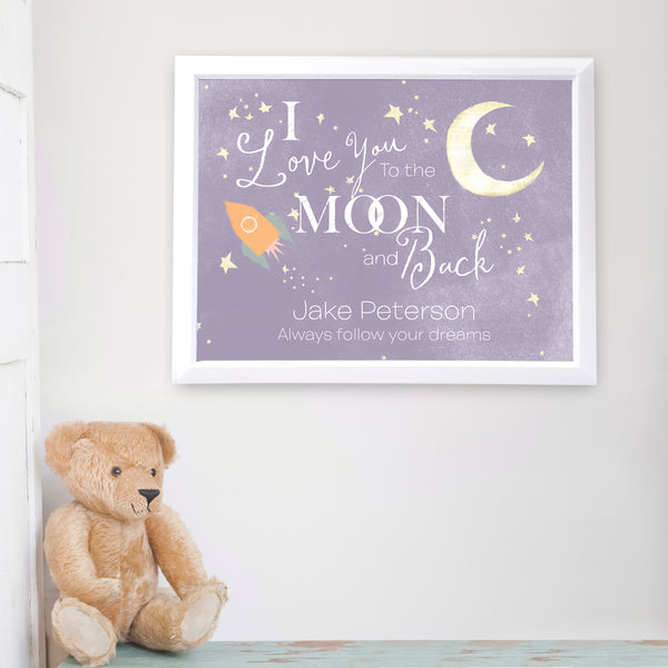 Personalised To the Moon and Back White Framed Poster Print lifestyle image
