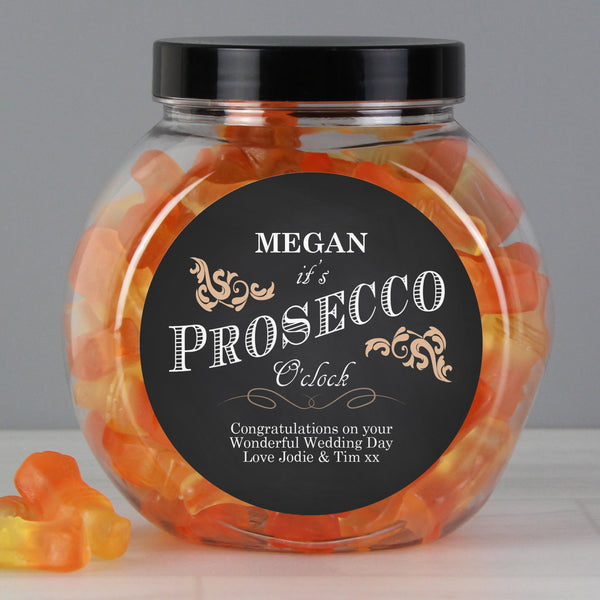 Personalised 'It's Prosecco O'Clock' Prosecco Gummies Jar lifestyle image