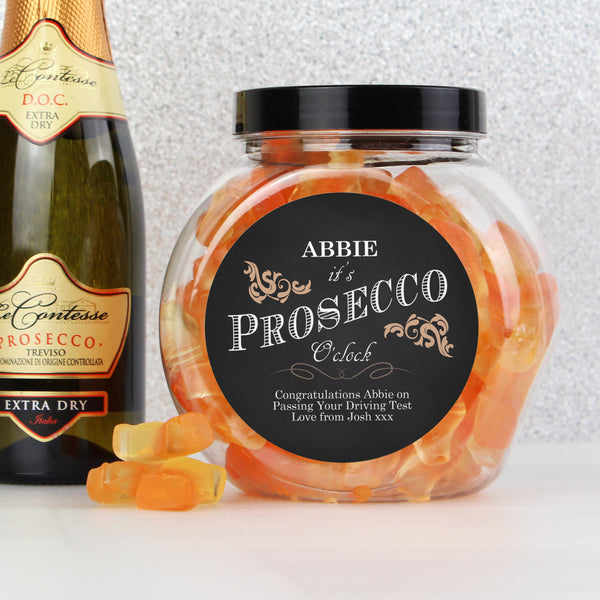 Personalised 'It's Prosecco O'Clock' Prosecco Gummies Jar with personalised name