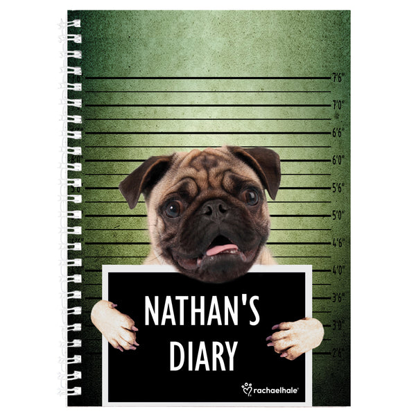 Personalised Rachael Hale Doodle Pugshot A5 Diary white background
