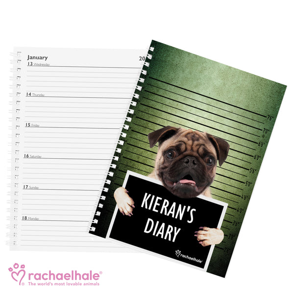 Personalised Rachael Hale Doodle Pugshot A5 Diary from Sassy Bloom Gifts - alternative view