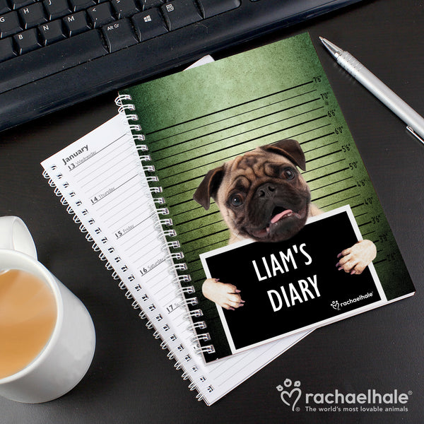 Personalised Rachael Hale Doodle Pugshot A5 Diary with personalised name