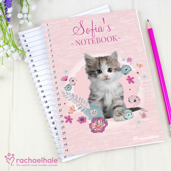 Personalised Rachael Hale Cute Kitten A5 Notebook with personalised name