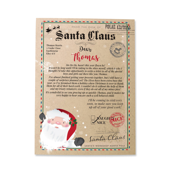 Personalised Santa Claus Letter white background