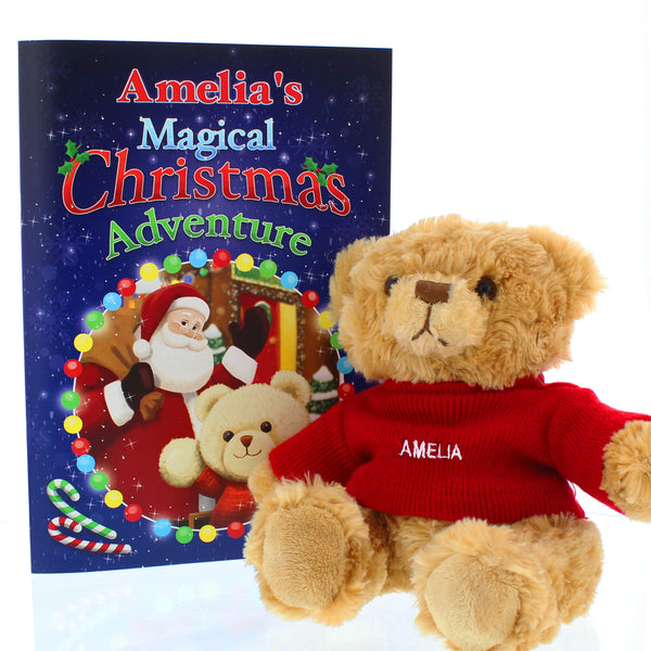 Personalised Magical Christmas Adventure Story Book and Personalised Bear white background
