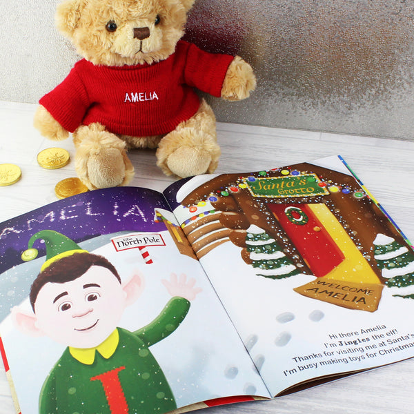Personalised Magical Christmas Adventure Story Book and Personalised Bear lifestyle image