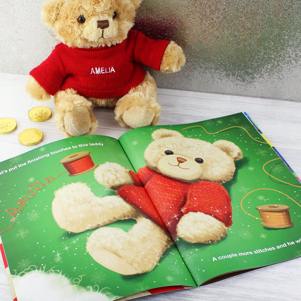 Personalised Magical Christmas Adventure Story Book and Personalised Bear with personalised name