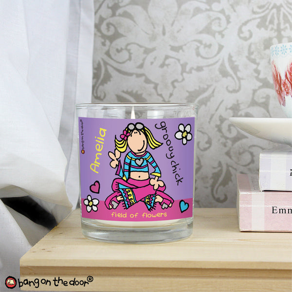 Personalised Bang on the Door Groovy Chick Scented Jar Candle lifestyle image