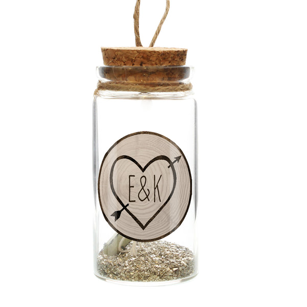 Personalised Carved Heart Message in a Bottle white background