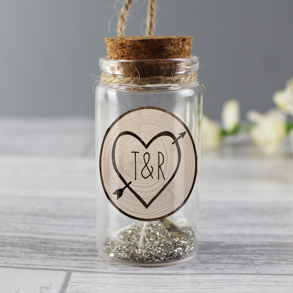 Personalised Carved Heart Message in a Bottle with personalised name