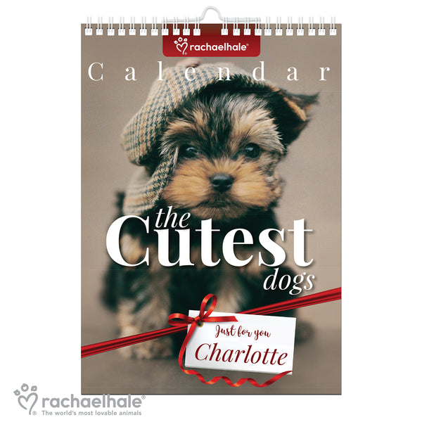 Personalised Rachael Hale 'The Cutest Dogs' A4 Wall Calendar white background