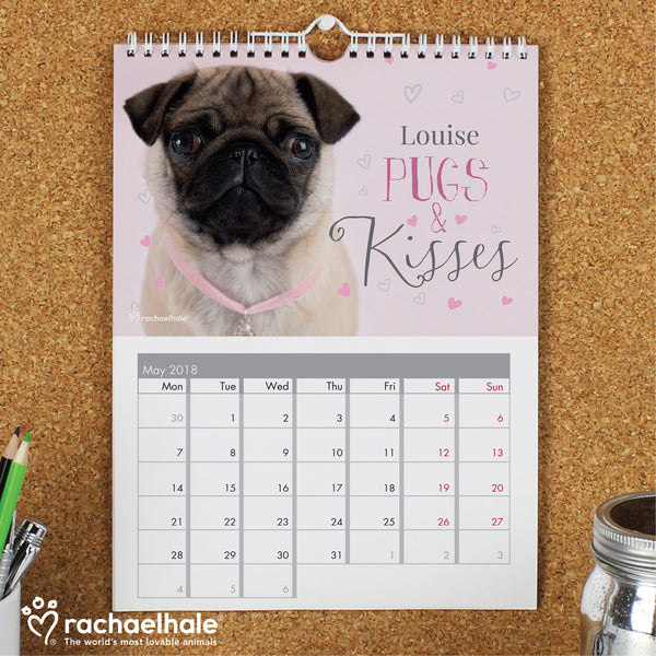 Personalised Rachael Hale 'The Cutest Dogs' A4 Wall Calendar with personalised name
