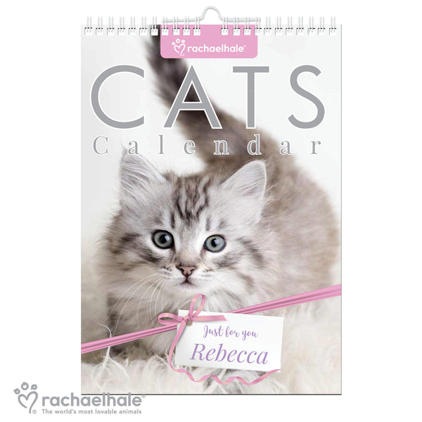Personalised Rachael Hale A4 Cats Calendar white background