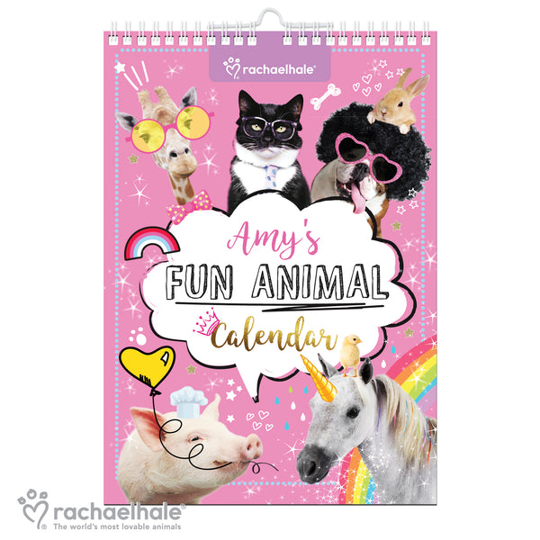 Personalised Rachael Hale Fun Animals A4 Wall Calendar white background