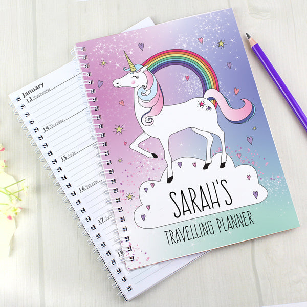 Personalised Unicorn A5 Diary with personalised name