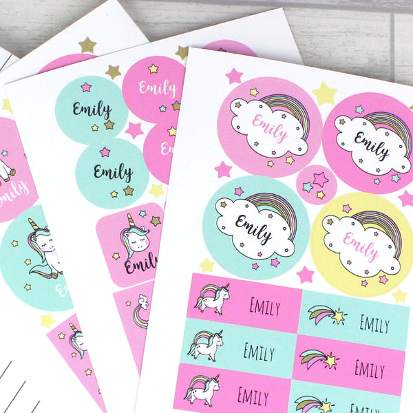 Personalised Baby Unicorn Sticker Set from Sassy Bloom Gifts - alternative view