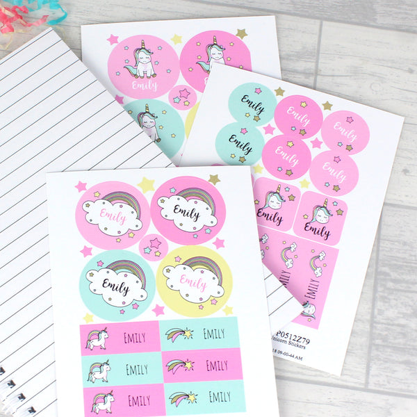 Personalised Baby Unicorn Sticker Set with personalised name