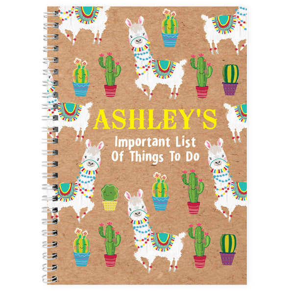Personalised Llama A5 Notebook white background