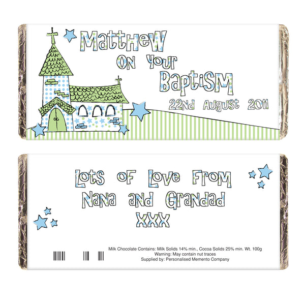 Personalised Blue Church Milk Chocolate Bar from Sassy Bloom Gifts - alternative view