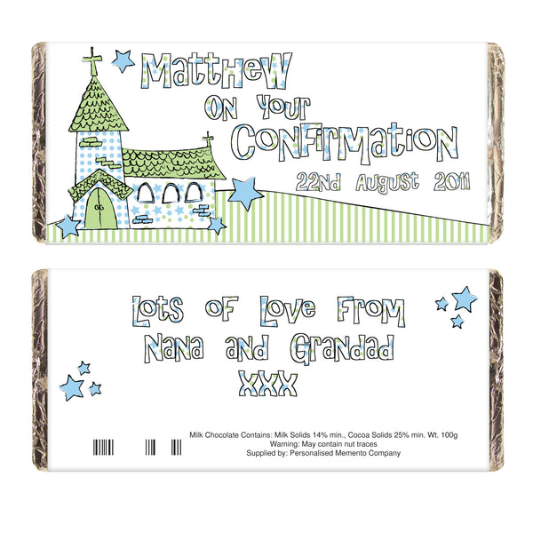 Personalised Blue Church Milk Chocolate Bar lifestyle image