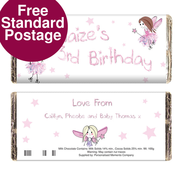 Personalised Fairy Milk Chocolate Bar from Sassy Bloom Gifts - alternative view