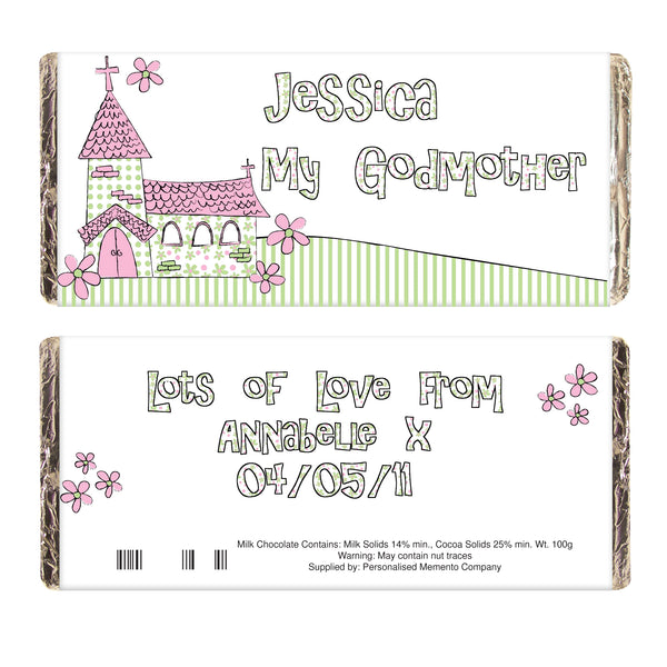 Personalised Whimsical Church Godmother Milk Chocolate Bar white background