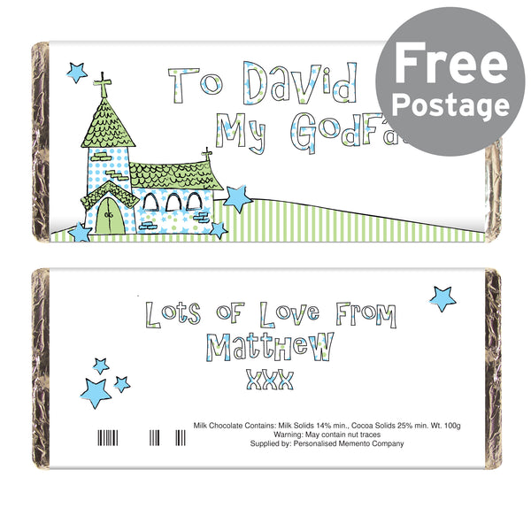 Personalised Whimsical Church Godfather Milk Chocolate Bar