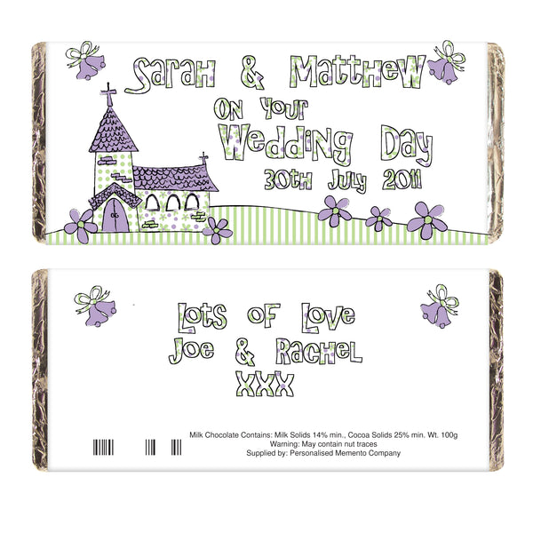 Personalised Whimsical Church Wedding Milk Chocolate Bar white background